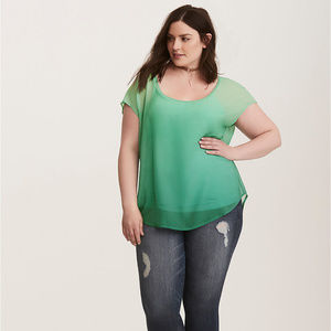 Torrid Green Ombre Top Sheer Open Blouse Cover Up